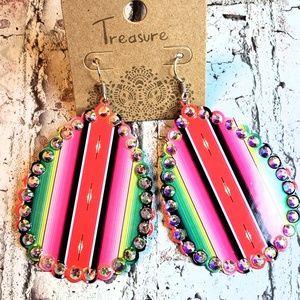 Jewelry - Serape saltillo mexican blanket earrings western